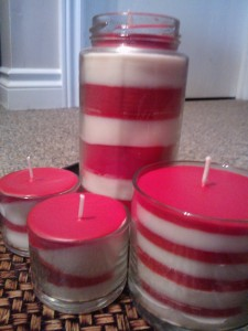 Some fun candles I made for Christmas - candy cane inspired